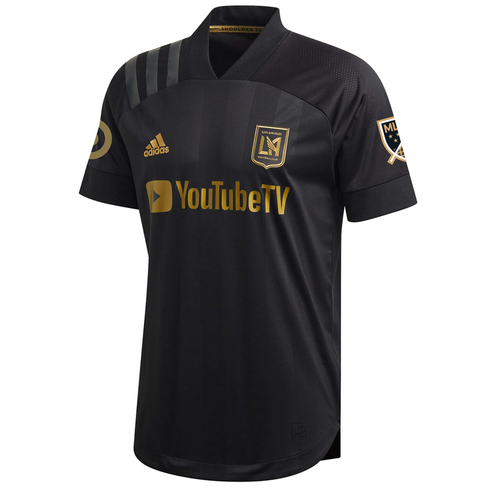 adidas Men's Carlos Vela LAFC 2020 Authentic Home Jersey Black/Gold
