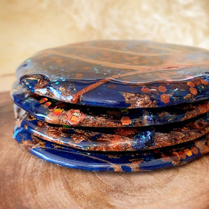 "4"" blue and copper slate coaster set of 4"