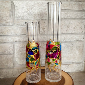 crackle glass candel holder set