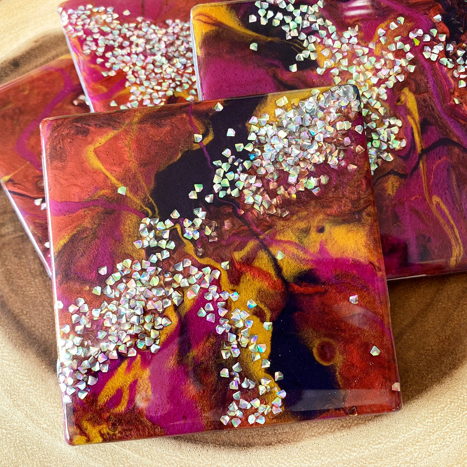 """thirsty stone"" coaster set in pink"