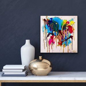 multi-media alcohol ink painting with gold leaf on canvas