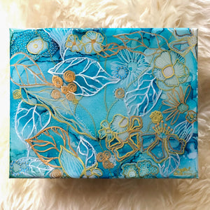 hand-painted blue floral on canvas with stand