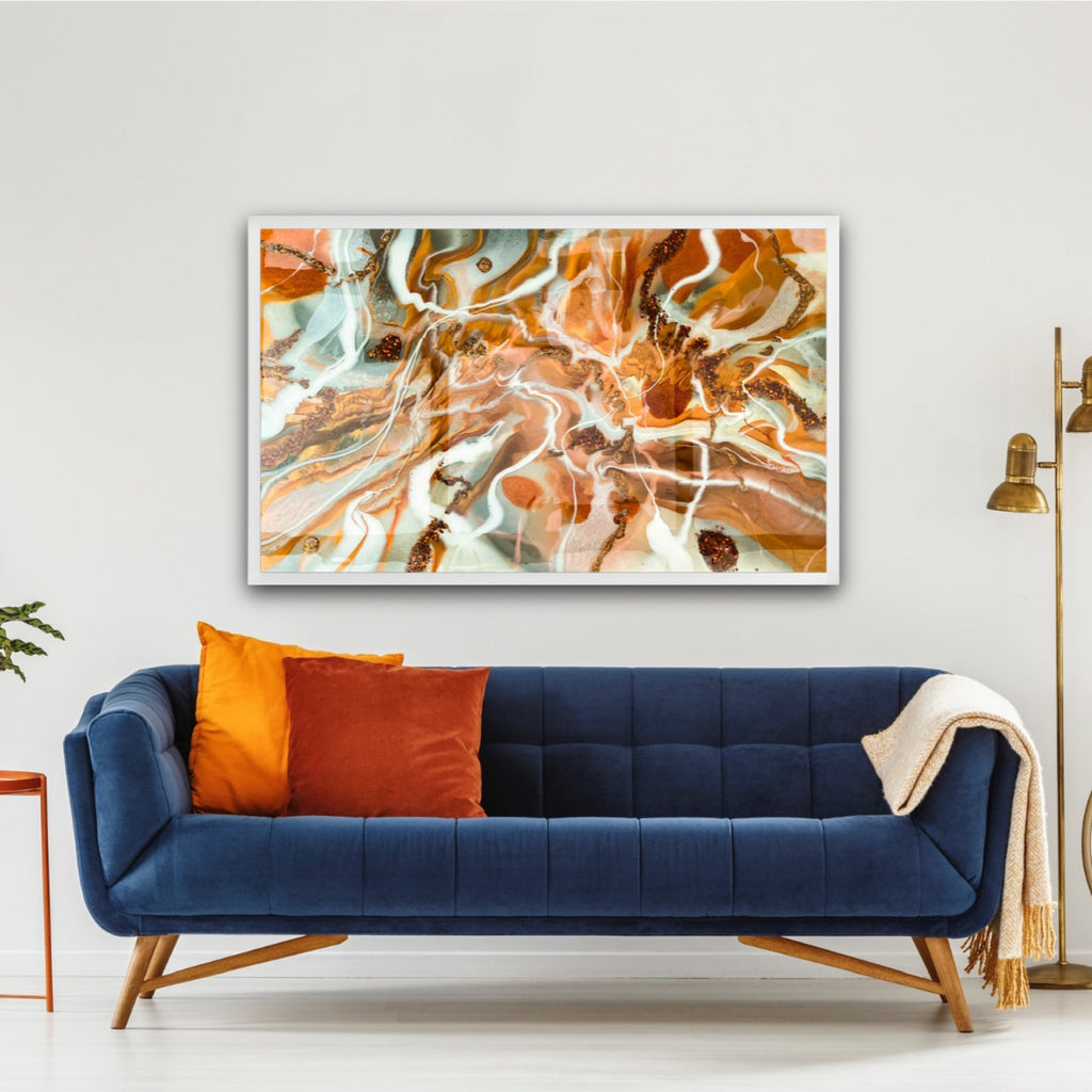 orange abstract resin and ink on canvas