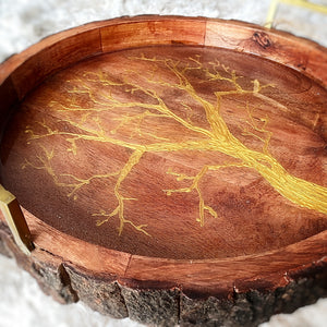 live edge round serving tray with golden tree