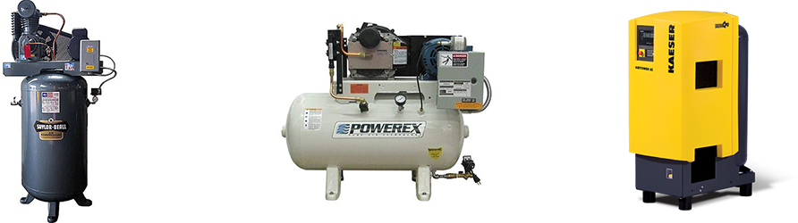 Piston, scroll rotary screw compressors