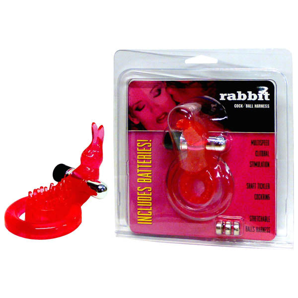 Rabbit Cock & Ball Harness - Red Vibrating Cock & Ball Ring with Rabbit Clit Stimulator