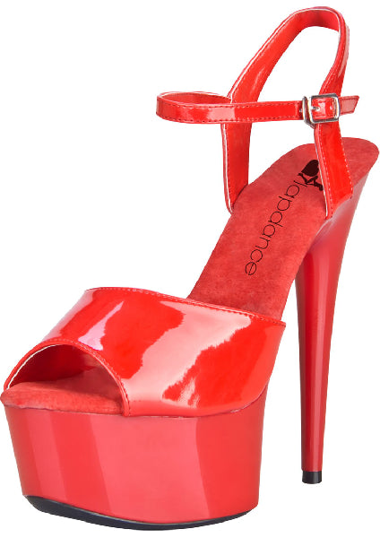 Red Platform Sandal With Quick Release Strap 6in Heel Size 8