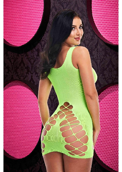 Criss Cross Mini Dress Neon Green