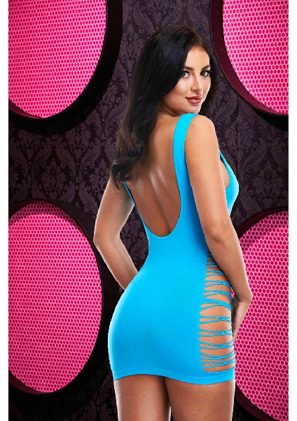 Criss Cross Mini Dress Neon Blue