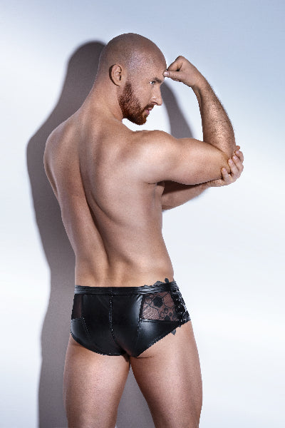 Power Wetlook Shorts With Tulle And Eco Leather Lacing