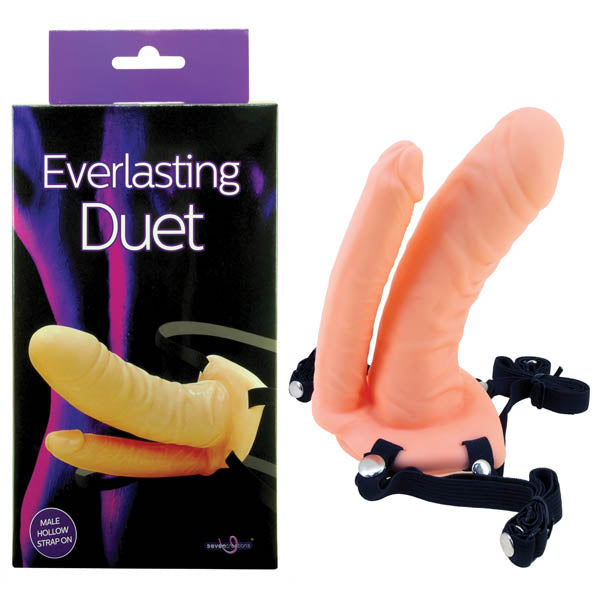Everlasting Duet - Flesh 16.5 cm (6.5'') Hollow Male Strap-On with Double Penetrator