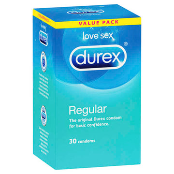Durex Regular Condoms - Regular Lubed Condoms - 30 Pack