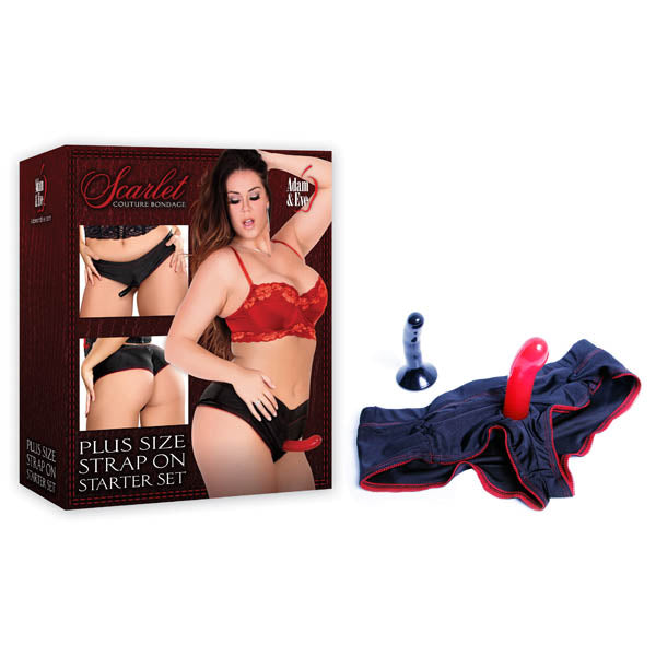 Scarlet Couture Plus Size Strap On Starter Set - Black/Scarlet Boyshort Panty Harness with 2 Probes