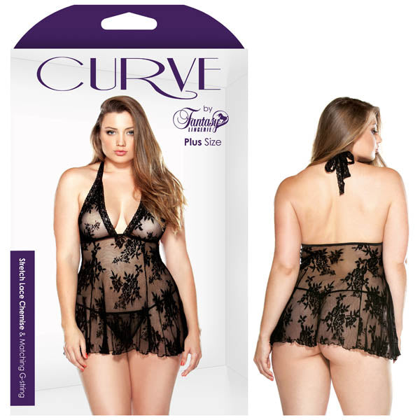 Curve Claudia Stretch Lace Chemise And Matching G-string - Black - 1X/2X Size