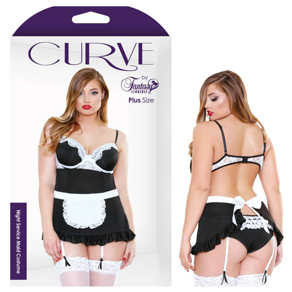 Curve Night Service Maid Costume - Black - 1X/2X Size