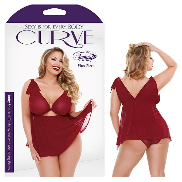 Curve Ruby Shoulder Tie Babydoll with Matching Panty - Red - 3X/4X Size