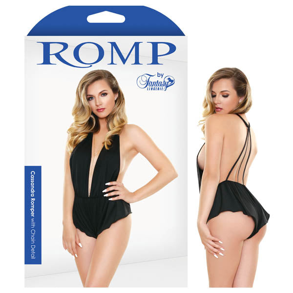 Romp Cassandra Romper With Chain Detail - Black - S/M Size