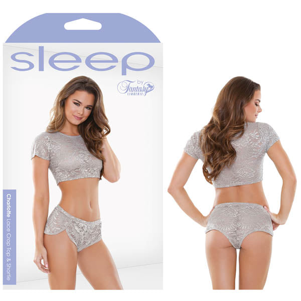 Sleep Charlotte Lace Crop Top & Shortie - Dove Grey - M/L Size
