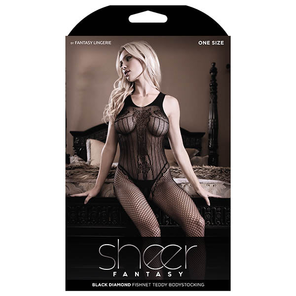 Sheer Fantasy Black Diamond Fishnet Teddy Bodystocking - Black - One Size