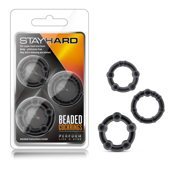 Stay Hard Beaded Cockrings - Black Cock Rings - Set of 3 Sizes