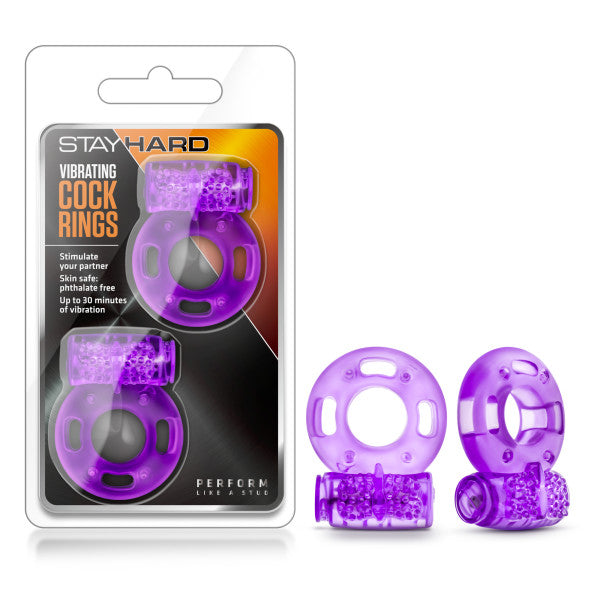 Stay Hard - Vibrating Cockrings - Purple Disposable Vibrating Cock Rings - 2 Pack