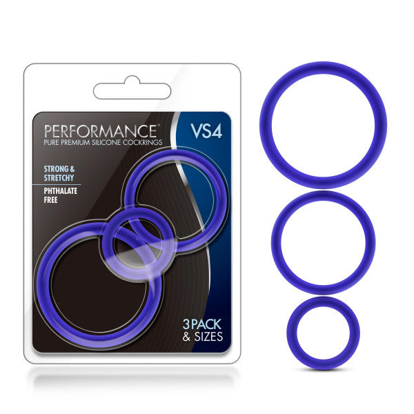 Performance VS4 Pure Premium Silicone Cockrings - Indigo Blue Cock Rings - Set of 3 Sizes