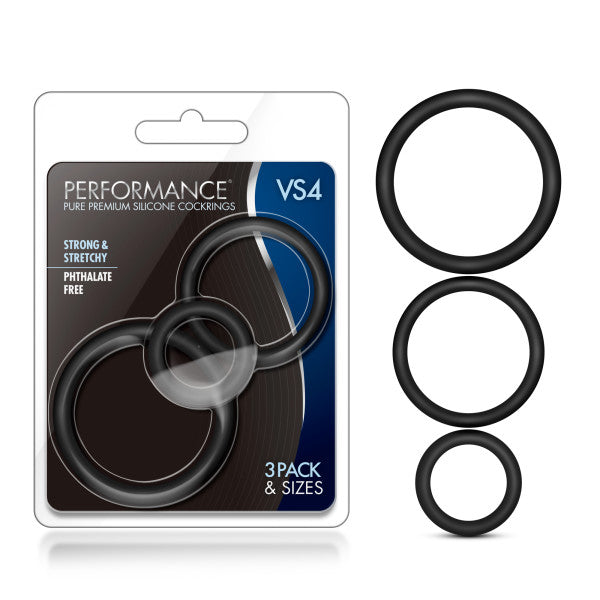 Performance VS4 Pure Premium Silicone Cockrings - Black Cock Rings - Set of 3 Sizes
