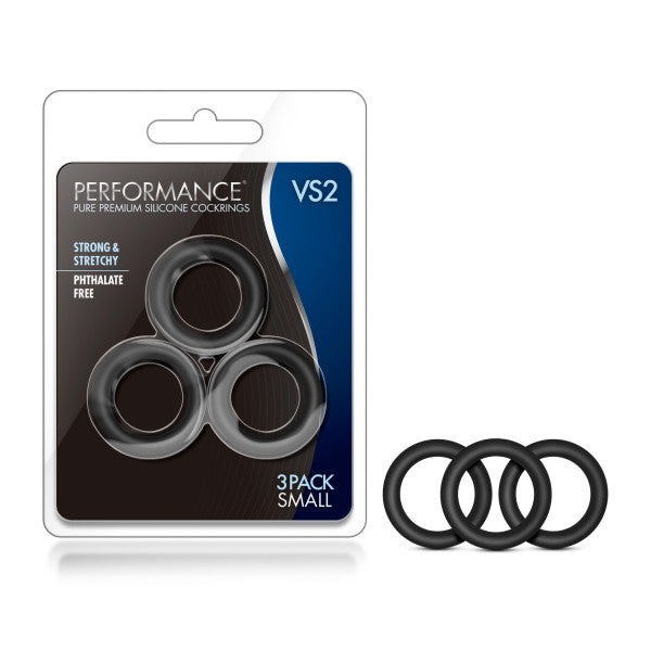 Performance VS2 Pure Premium Silicone Cockrings - Black Small Cock Rings - Set of 3