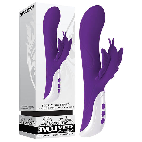 Twirly Butterfly - Purple 23.5 cm (9.25'') USB Rechargeable Rabbit Vibrator