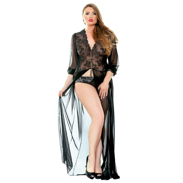 Premiere Lana Lace Dressing Gown - Black - Medium Size