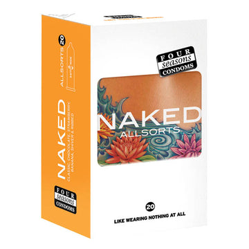 Four Seasons Naked Allsorts - Ultra Thin Lubed Condoms in 6 Styles - 20 Pack