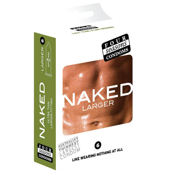 Naked Larger Fitting Condoms - Naked Larger Fitting Lubricated Condoms - 6 Pack