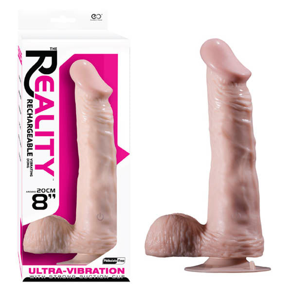 Realistic Rechargeable Vibrating Dong - Flesh 20 cm (8'') USB Rechargeable Dong