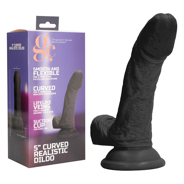 GC. 5 Inch Curved Realistic Dildo - Black 15.4 cm Dong
