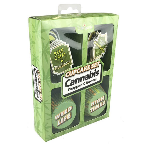 Cannabis Cupcake Set - Cupcake Wrappers & Toppers - 24 Pack