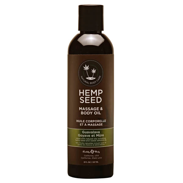 Hemp Seed Massage & Body Oil - Guavalava (Guava & Blackberry) Scented - 237 ml Bottle