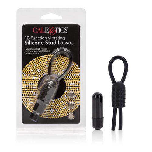 10-Function Vibration Silicone Stud Lasso - Black Vibrating Cock Ring