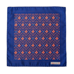 Blue & Burnt Orange Pocket Square