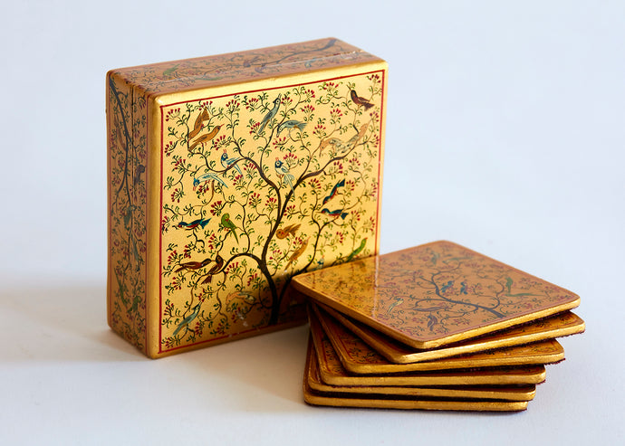 indian lacquer coasters in matching box