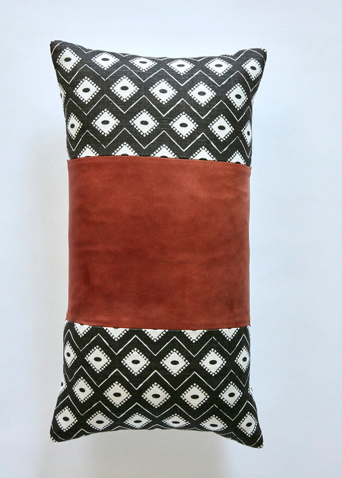 indie charcoal bolster with leather panel