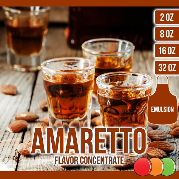 Amaretto (Emulsion) Flavored Liquid Concentrate OOOFLAVORS.COM Comparable to an almond cookie, with more of a toasted nut flavor.