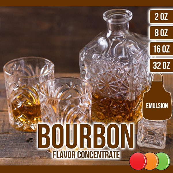 Bourbon (Emulsion) Flavored Liquid Concentrate OOOFLAVORS.COM  Historically used for medicinal purposes, bourbon is a strong American whiskey. A complex spirit containing hundreds of flavor compounds, it develops a reddish color and a rich, woody taste as it matures.