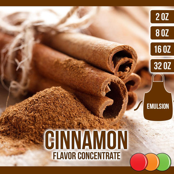 Cinnamon (Emulsion) Flavored Liquid Concentrate OOOFLAVORS.COM,  mid-brown colour spice obtained from the inner bark of several tree species from the genus Cinnamomum, used in both sweet and savoury foods.