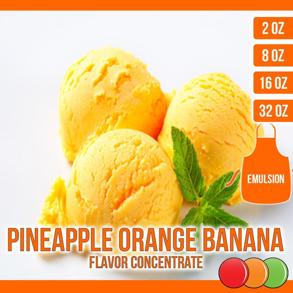 Pineapple Orange Banana (Emulsion) Flavored Liquid Concentrate OOOFLAVORS.COM A smooth blend of pineapple, orange, and banana, into a refreshing flavor