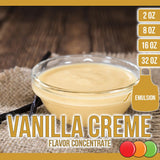 Vanilla Creme (Emulsion) Flavored Liquid Concentrate OOOFLAVORS.COM Smooth and creamy vanilla flavor.
