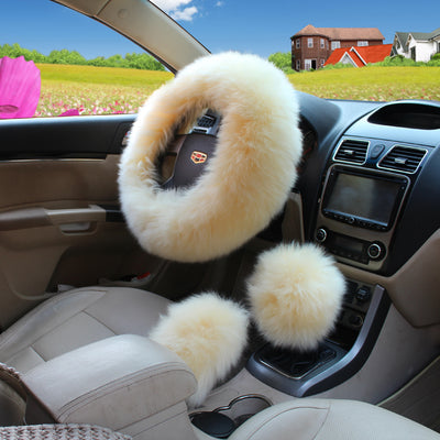 3Pcs Universal Car Plush Fuzzy Steering Wheel Cover Wool Fur Knob Shifter Brake