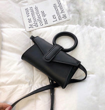 Load image into Gallery viewer, Mini vegan leather bag in black color with circular handle and detachable strap in the same color