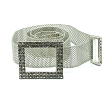 Load image into Gallery viewer, belt with metallic mesh in silver with glitter inlays on the buckle