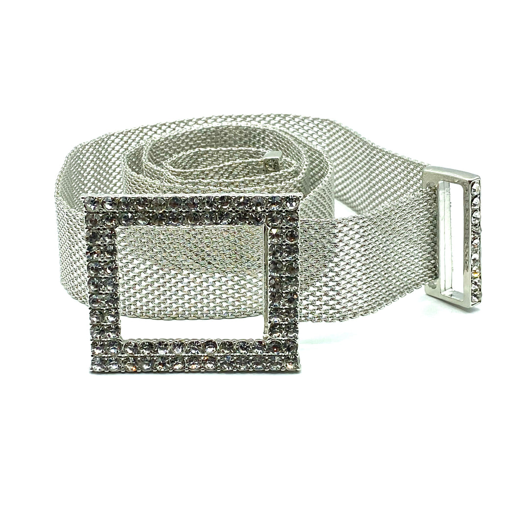belt with metallic mesh in silver with glitter inlays on the buckle