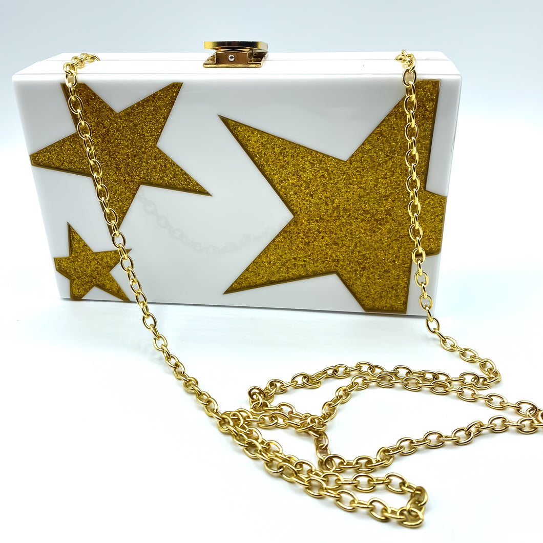 white Box Clutch with gold stars and Chain Strap Shoulder Bag